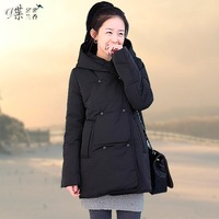 2014 New Women Double-breasted Overcoat Long Sleeve Thicken Fleece Hooded Parka Winter Coat Jacket Plus Size S M L XL XXL #990