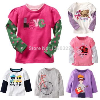 Дети хлопок шею футболка с длинным рукавом футболки с милой аппликация вышивка, мальчики и девочки одежда, детская одежда в течение 1-6 лет