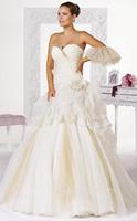 2015 New Arrival Fashionable Strapless Flower Organza Wedding Dresses vestido de noiva princesa Ball Gown Wedding Dress