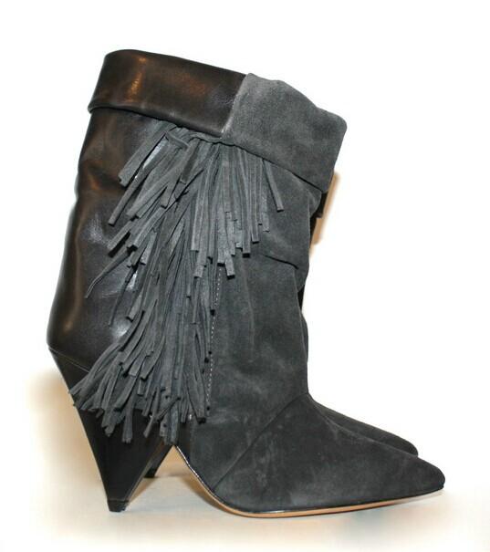 Quality Isabel marant tassel boots fashion nubuck genuine leather wedges fringe grey boots