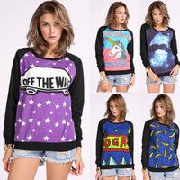 Women Sweatshirts Fall Fashion Casual Graphic Printed Hoodies Harajuku Style Women Long-Sleeved Loose Crewneck Sudaderas WS308