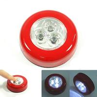 5 Pcs Per Lot 6 Colors Wall Light Kitchen Cabinet Closet Lighting 3 LED Sticker Tap Touch Lamp Lamps