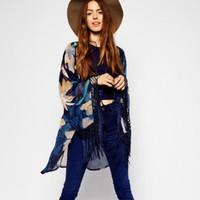 CT187 Winter New Womens Tassel Printed Blue Long Cardigan Kimono Desigual Fashion Blouses For Women Elegant Ladies' Blusas Tops