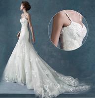 Winter 2014 spaghetti strap double-shoulder Long trailing Lace flower slim waist and fish tail wedding dress big train vestidos