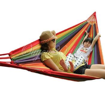 Гамаки туристские полосатые матерчатые много цветов хлопок портативные путешествия туризм качели веревка одноместные отдых складные кровати
