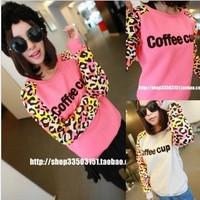 2014 Leopard print Raglan Sleeve t loose spring padded fleece relaxed letter sweater hoodies