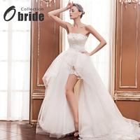 2014 Lw-high austrian diamond Train organza wedding dress Formal dress vestido de  wedding dress casamento short wedding dress