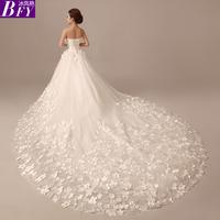 2014 sweet flower big train Bride tube top slim petals Long trailing vestid wedding dress vestido de renda salomon wedding dress