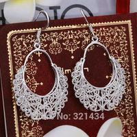 Fashion Vintage 925 Sterling Silver womens women Female earrings hook drop dangles girl friend birthday gift box KE328