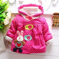 2014 polka dot and rabbit winter warm jacket kids girls outwear baby girls lovely animal coats sweaters KT554R
