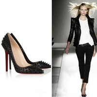 women pumps sexy high heels European version of ultra high heels thin heels rivets pointed toe cars t ruslana korshunova shoes