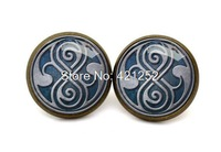 10pairs/lot bronze tone Doctor who earrings Seal of Rassilon  earrings Glass photo earrings