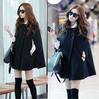 2014 New Fashion Womens Cape Black Batwing Wool Poncho Jacket Lady Winter Warm Cloak Coat  free shipping