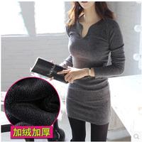 2014 New Fashion Women's Dresses Autumn and Winter V-neck Long-sleeve Plus Velvet Thickening Slim hip Female Dress