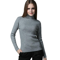 New 2014 Fashion Autumn Winter Womens clothing Solid Color Turtleneck Warm Slim Pullovers Knitted Sweaters 7 Colors Hot sale