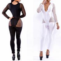New 2014 Long Sleeve Jumpsuit Women Sexy Black White Fishnet Panel Bandage Jumpsuit Bodysuit Catsuit Macacao Feminino BP4056