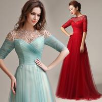 2014 new arrival wedding dress Formal dress slit neckline half sleeve Fashion slim Bridal long formal dress vestido de renda