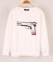 2014 New Fashion 3D gun print simple top Hoodies O-Neck Sweater Long Sleeves Sweatshirt Tops cc Letter Women Pullover