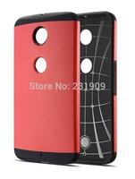 Dual Layer Rugged Armor Hybrid Imapact Cover Protective Case For Motorola Nexus 6 Nexus X ,Free Ship / Red Color