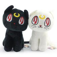 "Newest Sailor Moon 12""30CM 2pcs/lot Black Luna Cat and White Artemis Cat Plush Doll Toy Free Shipping"