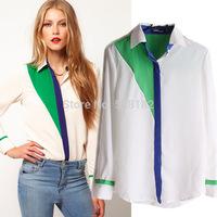European&American style Women's Casual Chiffon Blouse,Fashion Stitching chiffon shirt,Movement style Long sleeved Chiffon blouse