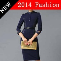 2014 new autumn fashion casual bandage desigual women dress party sexy lanon bodycon woman clothes work wear vestido 1027LX