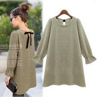 Women Casual Butterfly Sleeve Mini Vestidos 2014 European Knitted Plus Size Bow Straight Autumn Dress 1463