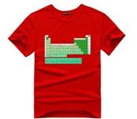 Free Shipping Big Bang Movie Sheldon Cooper periodic table design men's cotton printed t shirt Tees O-Neck  10 colors T32