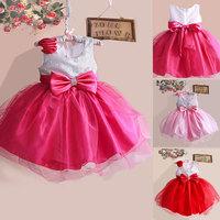 5pcs/lot, Retail 2014 New Spring Autumn Baby Girls Dress Clothes Children cute Flower   Sleeveless 2 colors splice casual dress