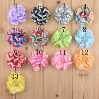100pcs/ lot 13 Colors Chevron Chiffon flowers Baby DIY flowers hair accessories with pearl and rhinestones Hair Accessary