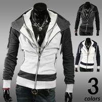 2014 Hot korean style men's fake two pcs zipper jackets  hoodie   M- XXL