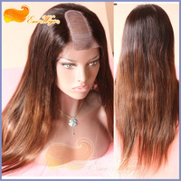 Free Shipping Cheap Ombre U Part Wig Straight 2 Tone Wig Malaysian Hair 100% Human Hair Wig U Part 1.5x3inch