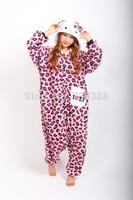 Adult Animal Anime Pink Leopard kt Kitty Cat Hello Kitty Onesie All In One Cosplay Pajamas Fleece Sleepwear Pyjamas Plus Size