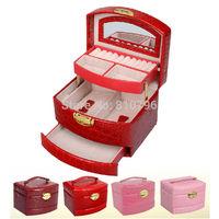 Hot Luxury Jewelry Display Crocodile PU Leather Pattern Casket Jewelry Packaging Box Organizer Case 3 Layers Jewelry Storage