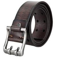 UY Genuine Leather Cow Hide Belt Men Vintage Silver Buckle Dual Needle Strap Fashion Luxury 110-115cm 130168531