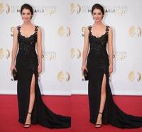 Reign Latest Style Gowns V Neck Sleeveless A Line Floor Length Celebrity Dress With Appliques Side Slit Taffeta Vestido