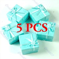 A25 Newest 2014 5 Pcs/lot  Jewellery Jewelry Gift Box Case for Ring Square Green Free Shipping