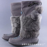 Free shipping  2014 new fashion  brand MUKS women bead suede leather rabbit fur super warm snow boots lady sheep fur flat boot