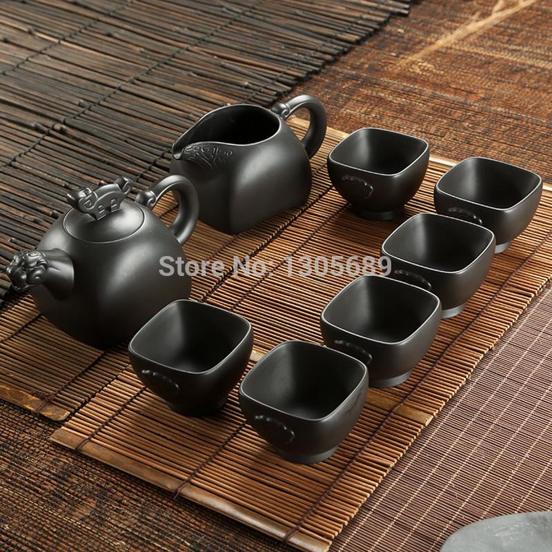 8pcs/lot boutique zisha tea set Chinese Yixing purple stoneware heat insulation tea pot cup handmade high quality tea cup gift(China (Mainland))