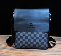 Free shipping fashion 2014 men bag brand name messenger bags casual or business leather bag Classic plaid men shoulder bag