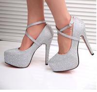 2014 new women fashion high heels prom wedding shoes ladies crystal platforms silver Glitter rhinestone studded wedge party pump