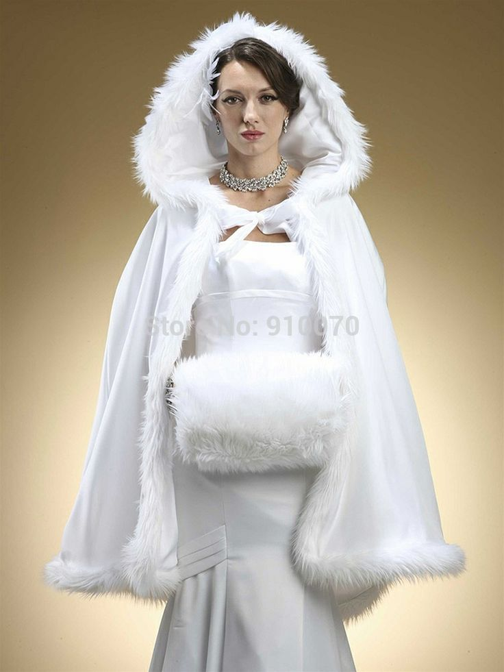 2015 custom made white winter gorgeous short hooded for Jacket to wear with dress to wedding