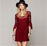 2014 European and American straight openwork lace long-sleeved A-line dress autumn and winter clothes women dress high  xjh87
