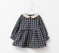 New arrival Winter Spring children clothing girls dress thicken velvet inside plaid collar 3-8T baby girl clothes