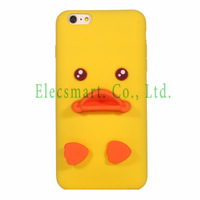 Cute Adorable 3D Cartoon Yellow Baby Duck Soft Silicone Stand Case Cover For iPhone 6 Plus