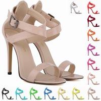 2014 women sandals brand new sexy black pink cross buckle Sandal peep-toe high heel sandalia rasteirinha feminina us 4.5-10.5