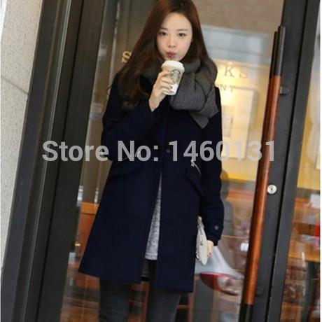 new 2015 women coat new fashion women's slim wool blended coat winter coat women woollen coat plus size S-XXL(China (Mainland))