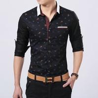 2014 new high quality printing square collar casual men's shirts/men's dress shirt size:M-XXL Free Shipping