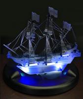 3D Puzzles LED Lighting Base Flashing DIY Boys Toy Golden Hind Model 3D Metal Jigsaw