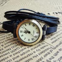 Promotion Fashion Korea Rope Watch Braided Genuine Leather Cord Bracelet Watch Lady Watch
